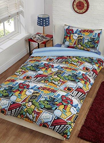 Rapport Comic Strip Duvet Set Multi, Polyester-Cotton, Multi-Colour, Single