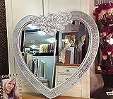 Premierinteriors Herz Form Crackle Mosaik Glas Rahmen Wandspiegel Kunstvoller Marokkanische French Gravur Rose Silber 88x 85cm