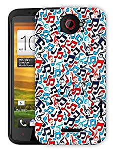 """Humor Gang Music Notes Printed Designer Mobile Back Cover For """"HTC ONE X"""" (3D, Matte Finish, Premium Quality, Protective Snap On Slim Hard Phone Case, Multi Color)"""