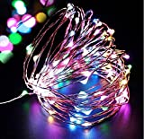 Solar Starry Fairy String Light, Emwel 10M/33FT RGB 100 LEDs 8 Models Outdoor Solar Powered LED String Lights Waterproof Copper Wire Lights Festival Decorative Rope Garden Twinkle Light for Party Homes Wedding (Multi Colour) …