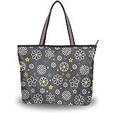 MNSRUU Schultertasche mit Reißverschluss, Blumenmuster, große Handtasche, Strandtasche für Damen