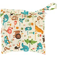 Deanyi Baby Waterproof Zipper Bag Washable Reusable Baby Cloth Nappy Bag Animal and Flower Pattern Beige Babyproducts
