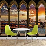 Spalten Stadt Istanbul Türkei Sonne - Wallsticker Warehouse - Fototapete - Tapete - Fotomural - Mural Wandbild - (3338WM) - XXL - 312cm x 219cm - VLIES (EasyInstall) - 3 Pieces
