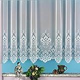 heimtexland Gardinen, Vorhang, Store weiß aus hochwertigem Jacquardstore mit transparentem Oberstoff und Kräuselband, HxB 95x300 cm Typ10
