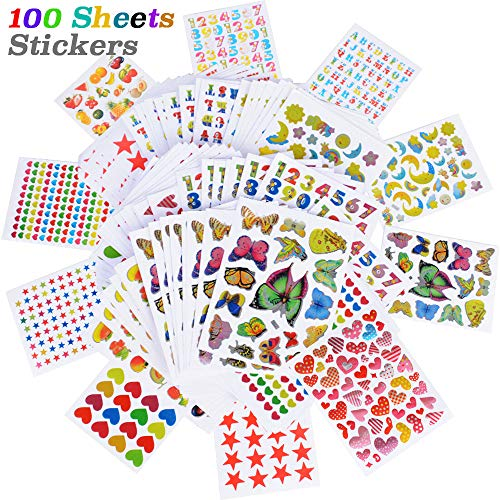 JNCH 100 Hojas Pegatinas Infantiles DIY Scrapbooking Stickers Infantiles Pegatinas de Recompensa...
