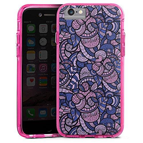 Apple iPhone 6s Bumper Hülle Bumper Case Glitzer Hülle Muster Pattern Oriental Bumper Case transparent pink