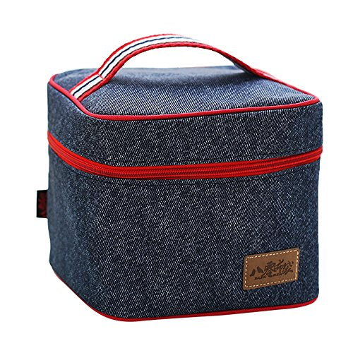 TININNA Mode Denim lunchpaket Isolierte Lunchpaket mit Reißverschluss Box Isolierung Tasche Kühltasche Kühler Lunchpaket für Camping Mahlzeit Picknick Reise Sport EINWEG Verpackung