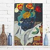 Bilderwelten Leinwandbild - Paula Modersohn-Becker - Stillleben mit Tulpen in blauem Topf - Hoch 3:2, Leinwand Leinwandbild XXL Leinwanddruck Wandbild, Größe HxB: 150cm x 100cm