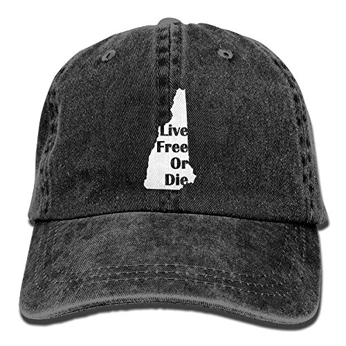 Aoliaoyudonggha New Hampshire Live Free Or Die Unisex Adjustable Cotton Denim Hat Washed Retro Gym Hat Cap Hat