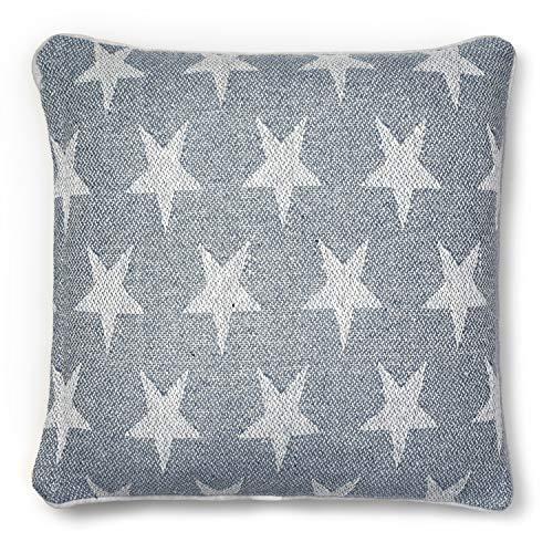 Clara H & G Kissenhülle für Sofa/Bett, Sternenmotiv, 55 x 55 cm, Baumwolle, Blau/Weiß