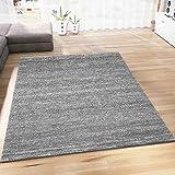 VIMODA Wohnzimmer Teppich Modern Meliert Kurzflor Farbechtheit Pflegeleicht in GRAU 80x150 cm