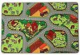 Kinderteppich BAUERNHOF - 95cm x 200cm, Schadstoffgeprüft, Anti-Schmutz-Schicht, Teppich mit Straßen und Tieren für Jungen & Mädchen