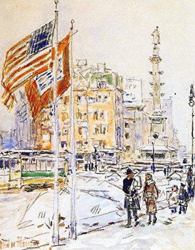 Das Museum Outlet-Flaggen, Columbus Circle, 1918-Poster (61x 81,3cm)