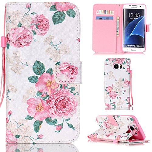 "Ooboom® iPhone 7 4.7"" Hülle Flip PU Leder Schutzhülle Handy Tasche Case Cover Wallet Standfunktion mit Kartenfächer Trageschlaufe - Eule Rose"