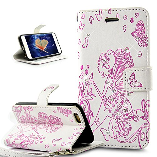 Coque iPhone 6S,Coque iPhone 6,Etui iPhone 6S, Etui iPhone 6, ikasus® iPhone 6/6S Étui Housse en Cuir Case, Fleur Gaufrage de papillon Fée Angel Girl avec Shiny Glitter strass cristal de diamant Etui  Diamant Flower Fée: Blanc et Rose vif