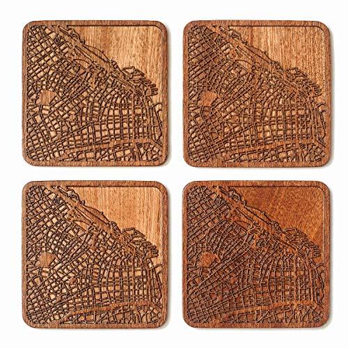 Untersetzer mit Stadtkarte, jede Kombination aus mehreren Städten, optional, Sapeli-Holzuntersetzer mit Stadtkarte Buenos Aires braun