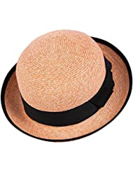 Women's leisure round top volume soulful courte paille tissée hem beach sun hat