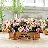 Flinfeays Kunstblumen Gefälschte Blumen Kreative Holz Zäune DIY Weihnachtsgeschenke Geschenke Hochzeit Küche Fensterbrett Home Decor Holz Topf Blumen Topf Lila -07