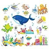 DECOWALL DS-8027 Unter dem Meer Meerestiere Tiere Wandtattoo Wandsticker Wandaufkleber Wanddeko für Wohnzimmer Schlafzimmer Kinderzimmer (Klein)