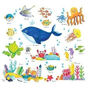 WandtattooWal Ozean Unterwasserwelt Wandsticker f/ür Kinderzimmer