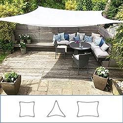 Clara Shade Sails Voile d'ombrage Toile Parasol de Jardin Canopy imperméable à l'Eau 98% de Protection Contre Les UVs (Square 3.6m)