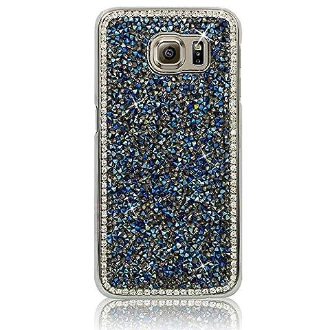 Xtra-Funky Reihe Samsung Galaxy S7 Edge Kristallrhinestone-Felsen harter Fall mit Sekt Diamante Kanten und Chrom-Rim - Blau
