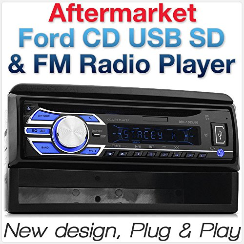 tunez Auto CD USB Player FM Radio Radioblende Stereo Single 1 DIN MP3 kompatibel mit faire Verwendung Focus Transit Connect Cougar Explorer Fiesta Mondeo Puma (Ford Cd-player)