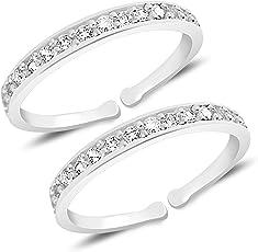 MJ 925 Stunning CZ Toe Rings (Leg Finger Rings) in 92.5 Sterling Silver for Women and Girls