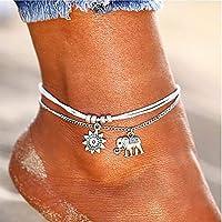 Bohend Boho Multilayered Spiaggia Cavigliera Argento Bracciale Ciondolo di Elephan Cavigliere Perlina Regolabile Catena…