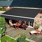 HENGMEI Aluminium Markise Klemmmarkise Balkonmarkise Sonnenschutz Kassettenmarkise Gelenkarmmarkise Sonnensegel (300 * 250cm, Dunkelgrau)