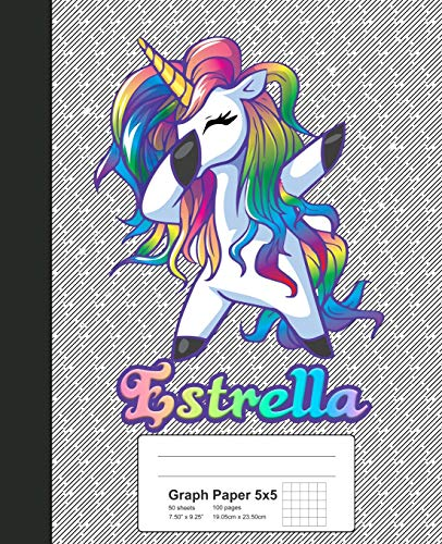 Graph Paper 5x5: ESTRELLA Unicorn Rainbow Notebook (Weezag Graph Paper 5x5 Notebook, Band 630) -