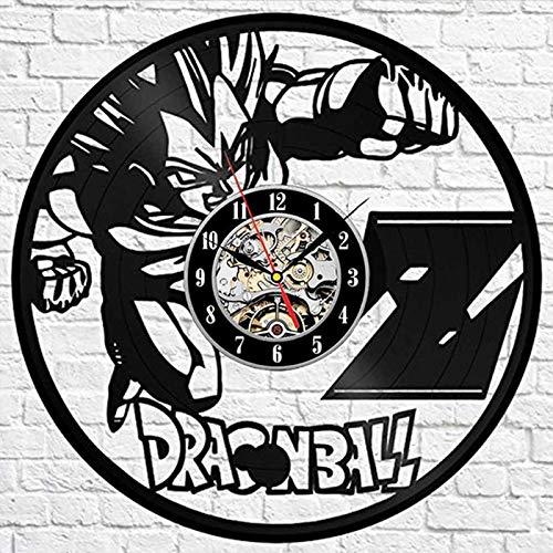 wczzh Dragon Ball Z Wanduhr Modernes Design Kreative Collectibles 3D Aufkleber Cartoon Schallplatte Uhren Wand Uhr Wohnkultur (Lp Dragon Ball Z)
