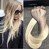 Full Shine 24 Zoll/60cm 7Pcs 140g/Set Ombre Balayage Asche Blonde Farbe # 18 Fading to Farbe # 613 Blondine Hervorgehobenen Besten Haar für Clip in Remix Haarverlängerungen Thick End Full Head Extensions