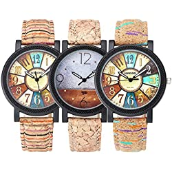 JSDDE Women Fashion Compass Abstract Painting Wooden Like Leather Strap Analog Quartz Wrist Watch, Pack of 3