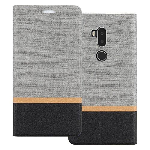 Shanphone Alcatel A7 XL Hülle, Dünn Mischfarben Pu Leder Folio Flip Klapphülle Etui Schutzhülle Tasche für Alcatel A7 XL, Grau