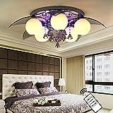 Natsen LED Deckenlampe 5-flammig inkl.LED E27 Ø80cm Kristall Deckenleuchte Designer Wohnzimmer Lampe mit Fernbedienung
