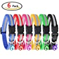 KeNeer Adjustable Reflective Pet Collar with Bell Safety Release Size Suitable for Small Medium Large for Cat, Dog (6 Pieces, 6 Colors)