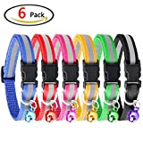 Cat collar, Homder Adjustable Reflective Pet Collar with Bell Simple and Elegant Design, Size Suitable Cat, Dog (6 Pieces, 6 Colors)