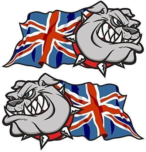 Sticar-it Ltd Handed Paio Di BULLDOG inglese Union Jack Gran Bretagna Bandiera Britannica Auto Del Vinile Casco Moto Adesivo Decalcomania Piccolo 50mm ampiezza cadauno