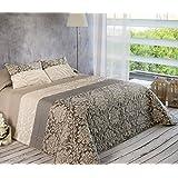 Algodón Blanco Pepe - Colcha bouti jacquard, para cama de 90 cm, 180 x 270 cm, 1 funda de cojín, 60 x 40 cm, color gris