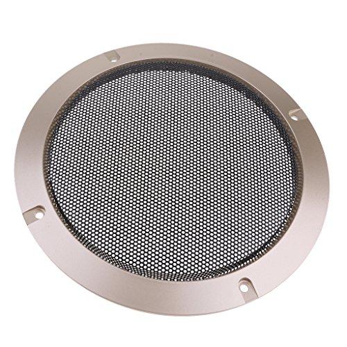 MagiDeal Cassa Acustico da 6,5   ' Custodia Griglie per Altoparlanti con 4 Viti per Altoparlante Home Audio DIY -184mm Diametro Esterno Oro