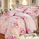 Weimilon Baumwolle Bettbezug Blumen,Einzigen,Student,Individuell,Double,Vier Jahreszeiten A Casual Chic 150X215Cm(59X85Inch) (Color : I, Size : 200x230Cm)