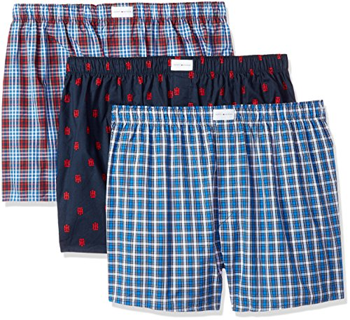 Tommy Hilfiger Men's Underwear 3 Pack Cotton Classics Woven Boxers (Red Plaid), Red Plaid Logo Print/Blue Plaid, XX-Large (Tommy Hilfiger Herren Plaid)