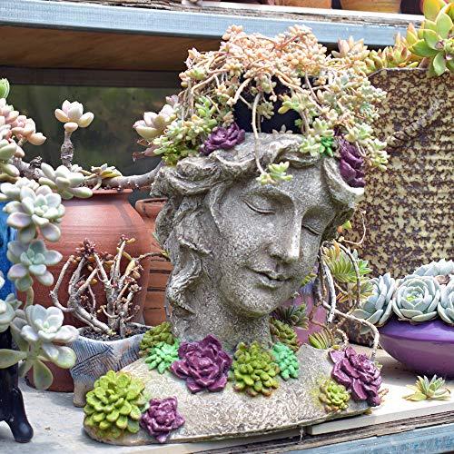 zenggp Göttin Kopf Pflanzer Blumentopf Dame Vase Griechische Skulptur Römischen Harz Flower Planter,B -
