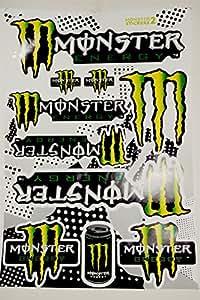 Planche de 10 GROS Autocollants Stickers Monster Energy 45x30CM