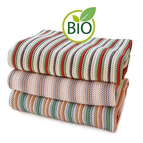 SonnenStrick 3009012 Erstlingsdecke/Babydecke/Kuscheldecke/Strickdecke mit zartem Streifenmuster aus 100 Prozent Bio Baumwolle 80 x 80 cm, rosa