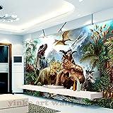 Malilove Custom 3D Wandbild Tapete 3D Stereoskopische Dinosaurier Cartoon Wandbild Kinderzimmer Schlafzimmer Fotografie Hintergrund 3D Kinder Tapete200X140CM