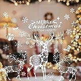 Valeny Weihnachten Fensterbilder Weihnachtsbaum Aufkleber Fensteraufkleber Xmas Wandaufkleber Elk Weihnachtssticker für Schaufenster und Haus Dekoration
