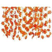 Remeehi 12pezzi/bag Edera Artificiale Rosso Foglia Garland Piante Vine Finto foglie di acero Fogliame Fiore per matrimonio casa partito decorazione Green