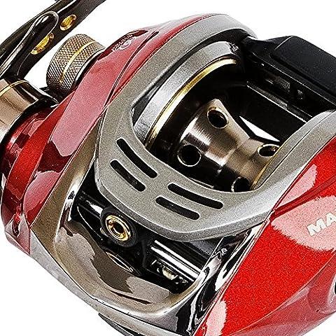 Fladen Maxximus Imán de perfil bajo 6bolas, Mano Izquierda metal Mar Barco carrete de pesca multiplicador con sistema de frenado magnético